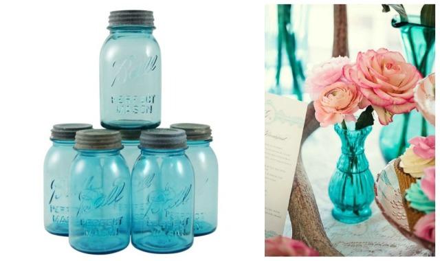Blue glass mason jars