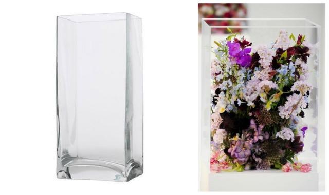 idea glass cube wedding flowers